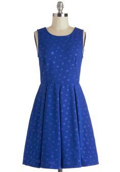 Feeling Marble-ous Dress - Mid-length, Blue, Pleats, Party, A-line, Sleeveless, Polka Dots, Pockets