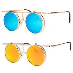 fdba1f3da3e Cool Flip Up Lens Steampunk Vintage Retro Style Round Sunglasses Tortoise  Gold X Flip Sunglasses