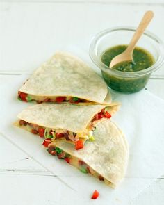 Chorizo and Red Pepper Quesadillas Recipe -- serve with green salsa for extra spice