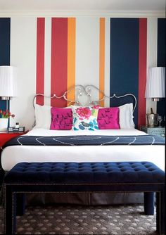 Maybe to loud for a home bedroom but great for a hotel room - Hotel Monaco, San Francisco. Dream Bedroom, Home Bedroom, Bedroom Decor, Bedroom Ideas, Striped Walls, Loft, Cozy Room, Home Decor Inspiration, Design Inspiration