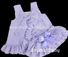 Gingham Check Ruffled Pinafore and Sassy Pants by SherbetBaby
