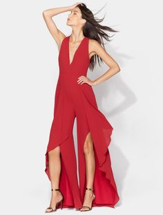ed743388195 Drape Front Jumpsuit with V-Neck
