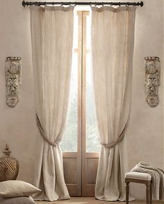 Textured Belgian Linen Drapery - traditional - curtains - Restoration Hardware