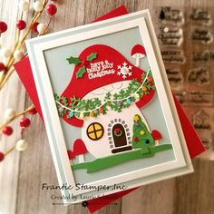 stamping up north with laurie: Frantic Stamper Gnome Home Best Christmas Lights, Christmas Cards, Tiny Mushroom, Reindeer Face, Tiny Tags, Pine Garland, Frantic Stamper, Gnome House, Card Making Supplies