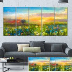 Designart 'Sunset Meadow Landscape' Oil Painting Canvas Print