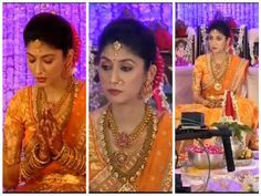 South Indian bride. Temple jewelry. Orange Silk kanchipuram sari.Braid with fresh flowers. Tamil bride. Telugu bride. Kannada bride. Hindu bride. Malayalee bride. Pranitha Reddy Manoj Manchu engagement.
