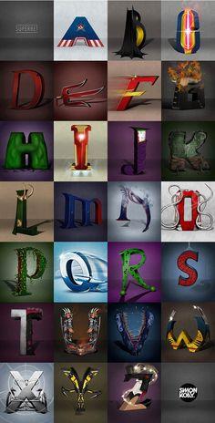 Designer Simon Koay imagines a superhero and villain alphabet, from Captain America to Zatanna. Marvel Comics, Ms Marvel, Arte Dc Comics, Marvel Memes, Marvel Avengers, Superhero Alphabet, Superhero Poster, Alphabet Book, Roman Alphabet
