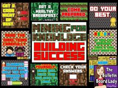 Test Prep Bulletin Board:  Mining for Knowledge, Building Success.  Awesome Minecraft inspired bulletin board for test taking!