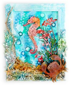 Bumblebees and Butterflies: Seahorse Mixed Media art using DecoArt Media products found at @joannstores