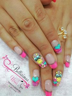 Uñas Cute Nail Art, Cute Nails, Pretty Nails, Wow Nails, Girls Nails, French Tip Nails, Flower Nails, Nail Manicure, Christmas Nails