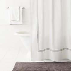 #PineConeHill Trio Shale Shower Curtain. Deep grey embroidery stands out against the classic white of our new cotton shower curtain. Coordinate with our Signature Shale bath rugs and Signature Banded White/Shale bath towels.