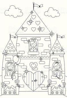 Fairytale Sparkly Castle and Princess Characters to Color In. royalty-free fairytale sparkly castle and princess characters to color in stock vector art & more images of castle Castle Coloring Page, Coloring Book Pages, Coloring Sheets, Coloring Stuff, Felt Patterns, Embroidery Patterns, Outline Drawings, Princess Castle, Digi Stamps