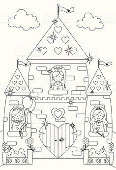 Castelo de princesa Fairytale brilhante de cores e personagens. vetor e ilustração royalty-free royalty-free