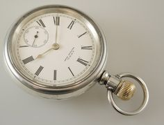 Large Silver Waltham Pocket Watch with a Gold Inlaid Train on the ...