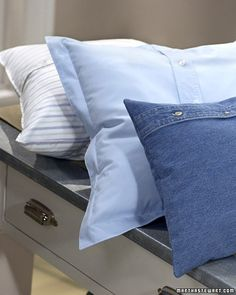 Blue Shirt Pillows  With this project, you can transform a button-down shirt with a torn sleeve or stained collar into a decorative throw pillow.  Make Blue Shirt Pillows