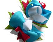Teal, white, pink, green boutique hair bow, stacked hair bow, girls infants babies toddlers hair bows