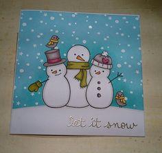 card christmas snowman bird Lawn Fawn Making Frosty Friends   Let it snow!