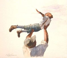 """""""We Dream Together"""" from Joe-Joe's First Flight. Original watercolor by E.B. Lewis available at the R. Michelson Galleries."""