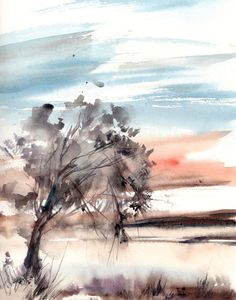 Landscape with Tree Watercolor Painting Art Print, Modern Watercolour Art