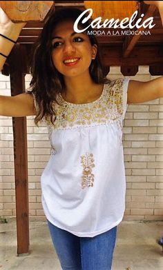 Mexican blouse hand embroidered sleeveless top