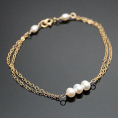 Gold PEARL Bracelet Simple Pearl Bracelet Fast by AlexisKJewels, $20.99 @Katie Schmeltzer Van Lankvelt this would be easy to do in silver with pearls, or purple, or whatever