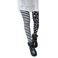Girls Pants Breathable Leggins Stars Stitching Stripe Leggings Elastic