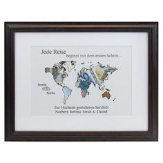 Zu Hochzeiten ein besonderes Geldgeschenk 38 x 47,5 cm großes Wandbild mit Rahmen in Natur oder Schwarz mit Landkarten-Motiv und Platz für Ihre Geldscheine personalisiert mit 2 Namen und Wunschtext für Ihre Hochzeitswünsche...