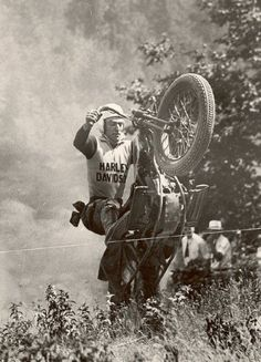 Harley in a vintage hill-climb event ...