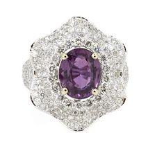 Ring (230) Round Diamond 2.29ct.tw Center Unheated Pink Sapphire 3.80ct 18K…