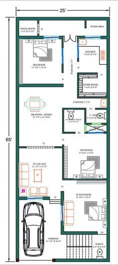 Duplex Floor Plans, Bungalow Floor Plans, Modern House Floor Plans, Narrow Lot House Plans, Simple House Plans, Beautiful House Plans, 2bhk House Plan, Free House Plans, Model House Plan