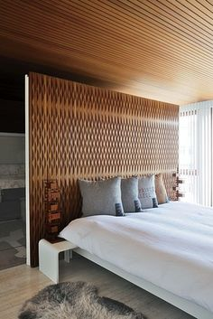 The designer's bed with Frank Lloyd Wright reproduction lamps and pillows from his on-and-off Raf Simons home line. Home Bedroom, Modern Bedroom, Bedroom Decor, Bedrooms, Simons Home, Bed Design, House Design, Interior Architecture, Interior Design