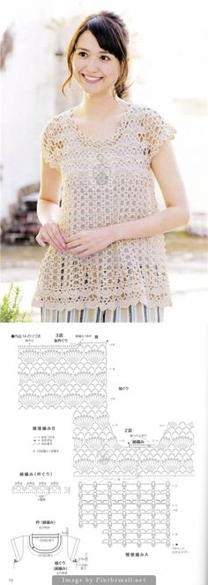 Crochet Lace Top ~ Chart can be enlarged to a really nice level of detail on the page following the link