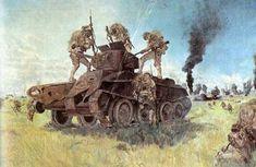 """Battle of Nomonhan"" Painting by Tsuguharu Fujita, 1941 Ju Jitsu, Japanese History, Magic Realism, Art Database, World War Ii, Military Vehicles, Wwii, Illustrators, Battle"
