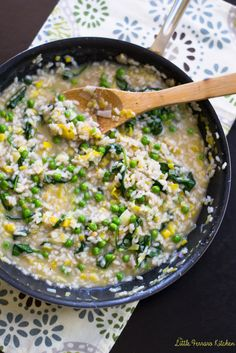Spring Leek and Pea Risotto #HealthySpring @KitchenIQ - The Little Ferraro Kitchen