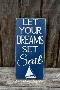 Beach Art Beach Decor Sailing Nautical Nursery Sign Dreams Set Sail Boys Room Graduation Gift Inspirational Rustic Beach Sign Sailboat Boat on Etsy, $26.00