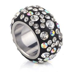 Swarovski Crystal Black & Borealis Pave Eternity Ring