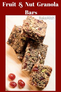 These Fruit And Nut Granola Bars have all the nuts you like and is loaded with dates, raisins and more. It's a very basic homemade granola with Nuts recipe Nut Recipes, Easy Cake Recipes, Sweet Recipes, Fall Dessert Recipes, Delicious Desserts, Basic Granola Bar Recipe, Healthy Bars, Healthy Snacks, Vegetarian Snacks