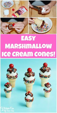 Easy Marshmallow Ice Cream Cones from KitchenFunWithMy3Sons.com