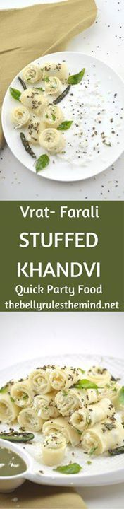 Khandvi is a popular Khandvi is a popular Gujarati snack made...  Khandvi is a popular Khandvi is a popular Gujarati snack made using buttermilk and chickpea flourbut this cute bite sized Khandvi are prepared with Amaranth Flour  Arrowroot powder & yogurt.So people who are observing fast ( VRAT) can enjoy these soft light melt in your mouth Khandvi. Being born and brought up in Mumbai we were exposed to a lot of different cuisines however I have to say that one cannot beat the taste of…