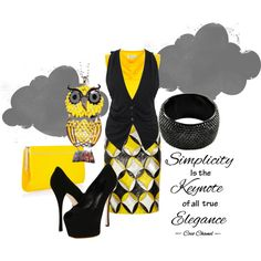 Yellow & Black, created by hollie29 on Polyvore
