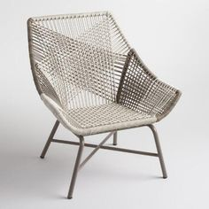 Standing on iron legs, our lounge chair is crafted of weather-resistant resin wicker with a striking woven construction modeled after string chairs. A mix of gray, taupe and natural shades adds visual intrigue to this casual yet sophisticated piece.