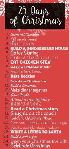 December will be here before you know it! As you are preparing your new Christmas traditions this year I wanted to share with you a little something called the 25 Days of Christmas Activities. Fun holiday activities for you to enjoy with your entire fa 25 Days Of Christmas, Noel Christmas, Merry Little Christmas, Christmas 2017, Winter Christmas, Christmas Crafts, Christmas Decorations, Xmas, Christmas Countdown