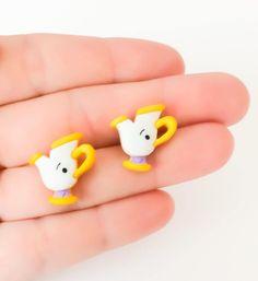 Beauty Beast Earrings ~ Disney Jewelry ~ Chip the Tea Cup ~ Disney Stud Earrings Polymer Clay Disney, Cute Polymer Clay, Cute Clay, Polymer Clay Miniatures, Polymer Clay Projects, Polymer Clay Charms, Diy Clay, Polymer Clay Earrings, Clay Crafts