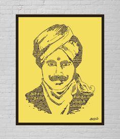 Bharathiyar Laminated Portrait - Yellow Save Image, Film Posters, Mandala Design, Logo Design, Princess Zelda, Embroidery, Yellow, Prints, Fictional Characters
