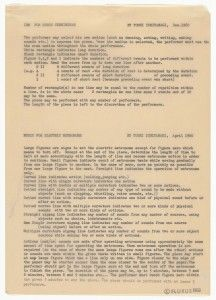 Instruction SheetToshi Ichiyanagi. IBM for Merce Cunningham and Music for Electric Metronome. 1960. Instructions. Master for the Fluxus Edition, typed and drawn by George Maciunas, New York. Typewriting on carbon, and stamped ink on transparentized paper, 11 5/8 x 8 3/16″ (29.5 x 20.8 cm). Unless otherwise noted, all works: The Museum of Modern Art, New York. The Gilbert and Lila Silverman Fluxus Collection Gift. Photo: Peter Butler