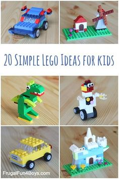 20 Simple Lego Ideas for Kids - These projects can be built with the new small and medium LEGO creative boxes.  Or use them as a starting point to build something with whatever bricks you have!