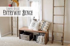 Let me start out by telling you that you don't need a lot of Wood working skills to pull off this Rustic Bench. This little bench is perfect in the Entry way for putting on shoes, storing odd… Rustic Entryway, Rustic Decor, Entryway Ideas, Entryway Decor, Wood Box Centerpiece, Rustic Wood Walls, Easy Diy, Simple Diy, Diy Bench