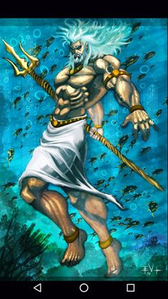 Poseidon is the god of the sea and protector of all aquatic features. Brother of Zeus and Hades, after the overthrow of their father, Cronus, he drew lots with them to share the universe. Greek And Roman Mythology, Greek Gods And Goddesses, Celtic Mythology, Zeus And Hades, Poseidon Tattoo, God Tattoos, Tatoos, Roman Gods, Psy Art