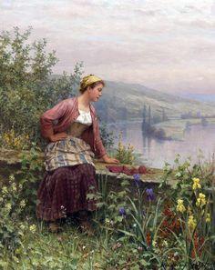 Mending By Daniel R Knight 8x10 Print Country Woman Sewing Garden River Art 192