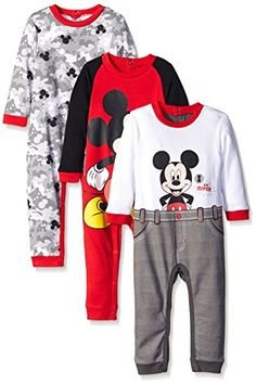 Disney Baby Mickey 3 Pack Coveralls Red 12 Months >>> Read more reviews of the product by visiting the link on the image.